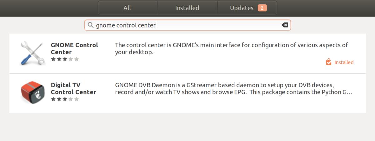 """Sök på """"Gnome control center"""" och klicka på länken."""