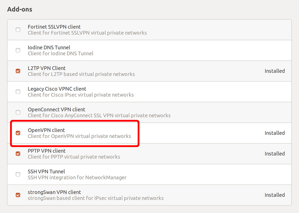 """Skrolla ner och kryssa i """"OpenVPN client""""."""