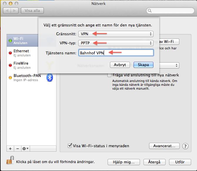 """I gränssnittet väljer du """"VPN"""", i VPN-typ fältet välj """"PPTP"""" och i fältet tjänstens namn skriver du in """"Bahnhof VPN"""". Tryck sedan på knappen """"Skapa""""."""