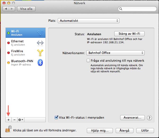 Klicka på plustecknet för att lägga till en nätverkskonfiguration.