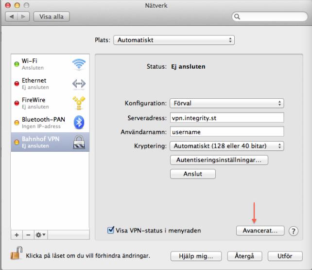 """Kontrollera att """"Visa VPN-status i menyraden"""" är ikryssad och tryck på """"Avancerat""""."""