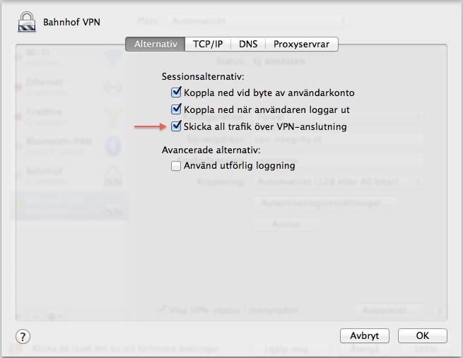 """Klicka i """"Skicka all trafik över VPN-anslutning"""", tryck sedan på OK."""