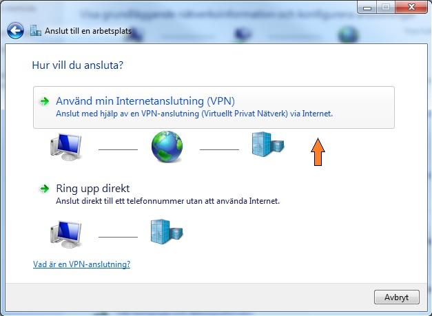 """Klicka på """"Använd min Internetanslutning (VPN)""""."""