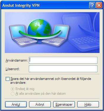 """Dubbelklicka på """"Integrity VPN"""" som nu finns på skrivbordet. Ange användarnamn och lösenord och klicka sedan på """"Anslut"""". Nu är du ansluten till Integrity VPN och kan surfa anonymt. Användarnamn och lösenord hittar du på din kundspecifikation."""