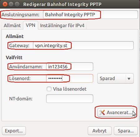 """Välj """"Avancerad"""" och dubbelkolla att dina inställningar matchar de som finns på bilden nedan. Skriv in anslutningsnamn: """"Bahnhof Integrity PPTP"""" samt användarnamn och lösenord. Klicka på """"Avancerat""""."""