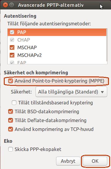 """Dubbelkolla att dina inställningar matchar de som finns på bilden nedan. Se till att """"Använd Point-To-Point-kryptering (MPPE) är ibockad"""". Klicka på """"OK""""."""