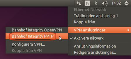 """Gå till """"Nätverksikonen"""" igen och välj """"VPN-anslutningar"""" > """"Bahnhof Integrity PPTP""""."""