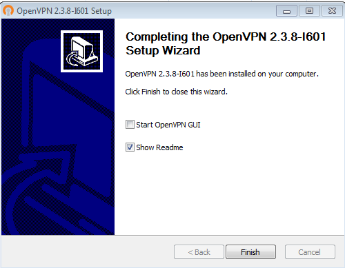 """Se till att """"Start OpenVPN GUI"""" inte är ikryssat"""