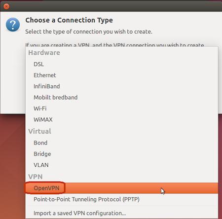 Välj OpenVPN.