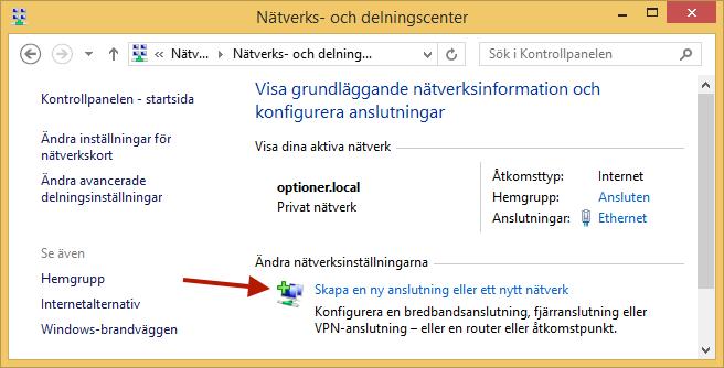 """Klicka på """"Skapa en ny anslutning eller ett nytt nätverk""""."""