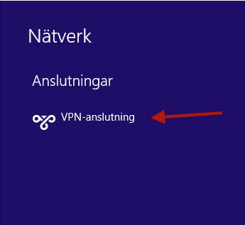 """Klicka med vänster musknapp på """"VPN-anslutning""""."""