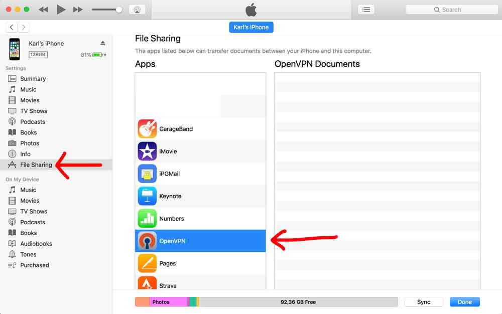 Klicka på File Sharing och markera OpenVPN