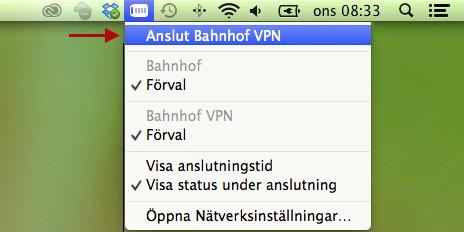 """För att starta din VPN-anslutning klickar du på VPN-ikonen i aktivitetsfältet. Klicka på """"Anslut Bahnhof VPN"""". Du är nu uppkopplad mot Bahnhof och kan börja surfa anonymt!"""