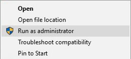 Windows 10: Run as administrator